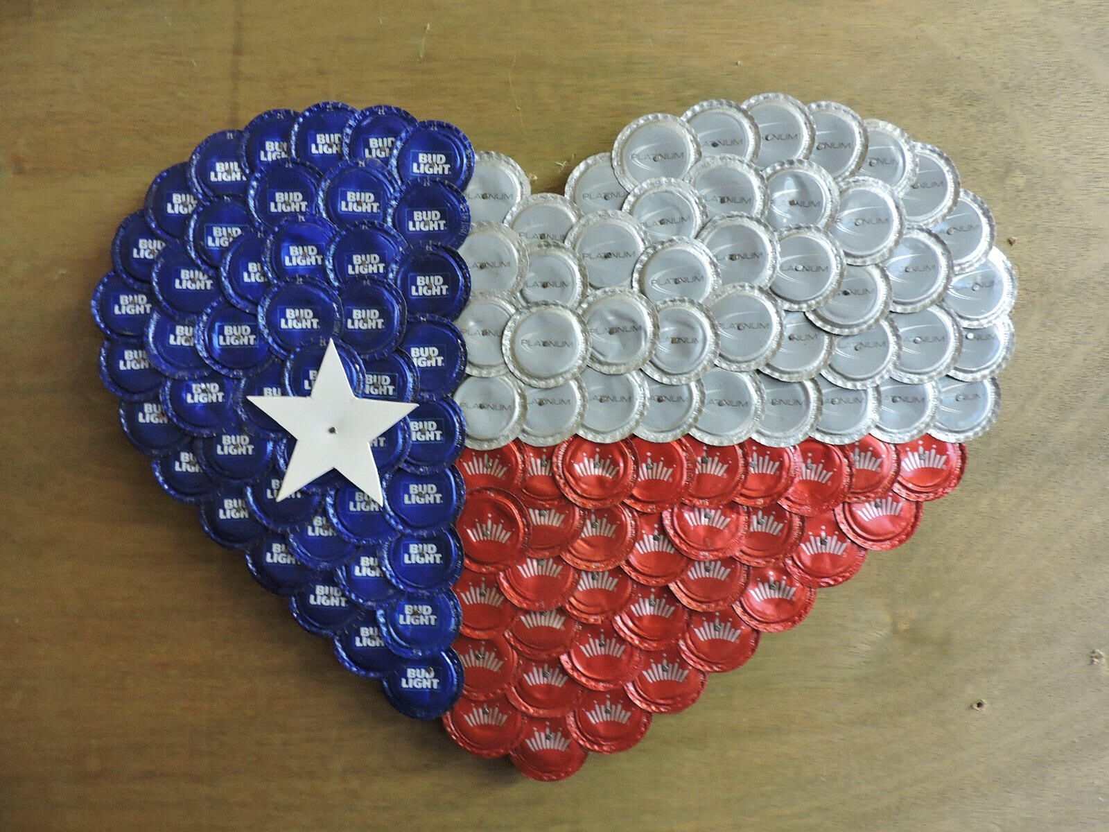 Texas Flag Heart Made With Bud Bud Lite And Bud Platinum Etsy In 2020 Beer Bottle Cap Crafts Beer Cap Crafts Bottle Cap Crafts