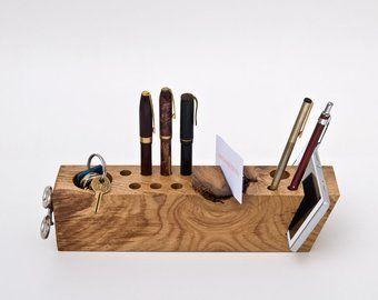 Organisateur de bureau bois unique unique en son genre de cadeau