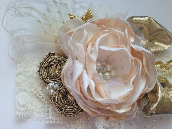 French Vanilla couture headband over the top by ChloeRoseCouture