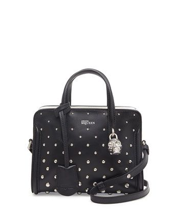 Mini+Studded+Padlock+Zip-Around+Tote+Bag,+Black/White+by+Alexander+McQueen+at+Neiman+Marcus.