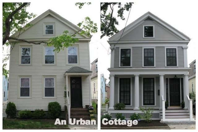 An Urban Cottage Greek Revival Exterior Renovation Before And After Exterior House Renovation Home Exterior Makeover House Makeovers