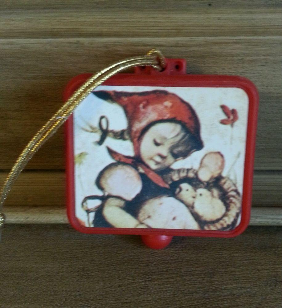 Hummel christmas tree ornaments - Vintage Hummel Pull String Music Box Christmas Ornament Plays God Bless America