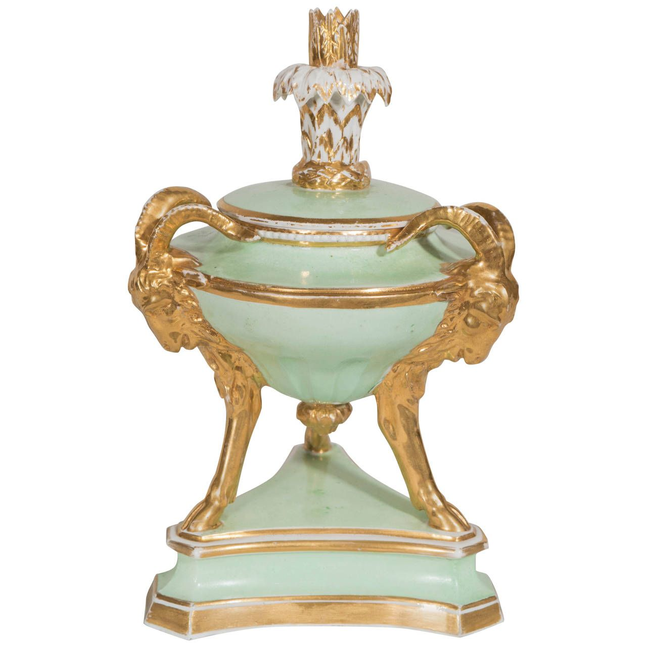 Early 19th Century Derby Pastille Burner in Celadon and Gold