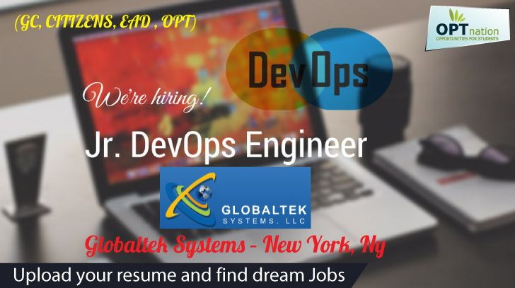 Jr DevOps (GC, CITIZENS, EAD , OPT) #jobs #JobSearch Globaltek - devops resume