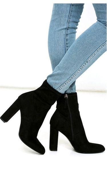 Black Suede High Heel Mid-Calf Boots