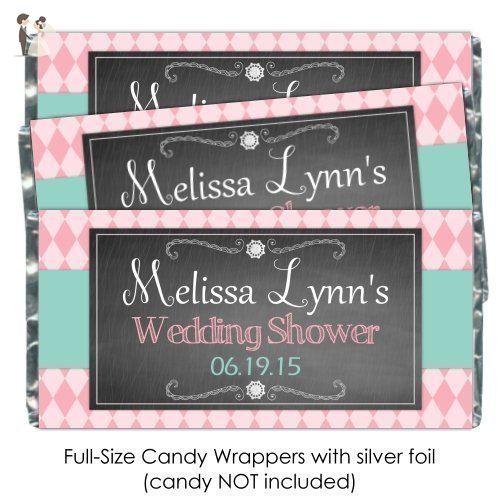 25 Wedding Shower Candy Wrers Peach And Green Chalkboard Custom Bar