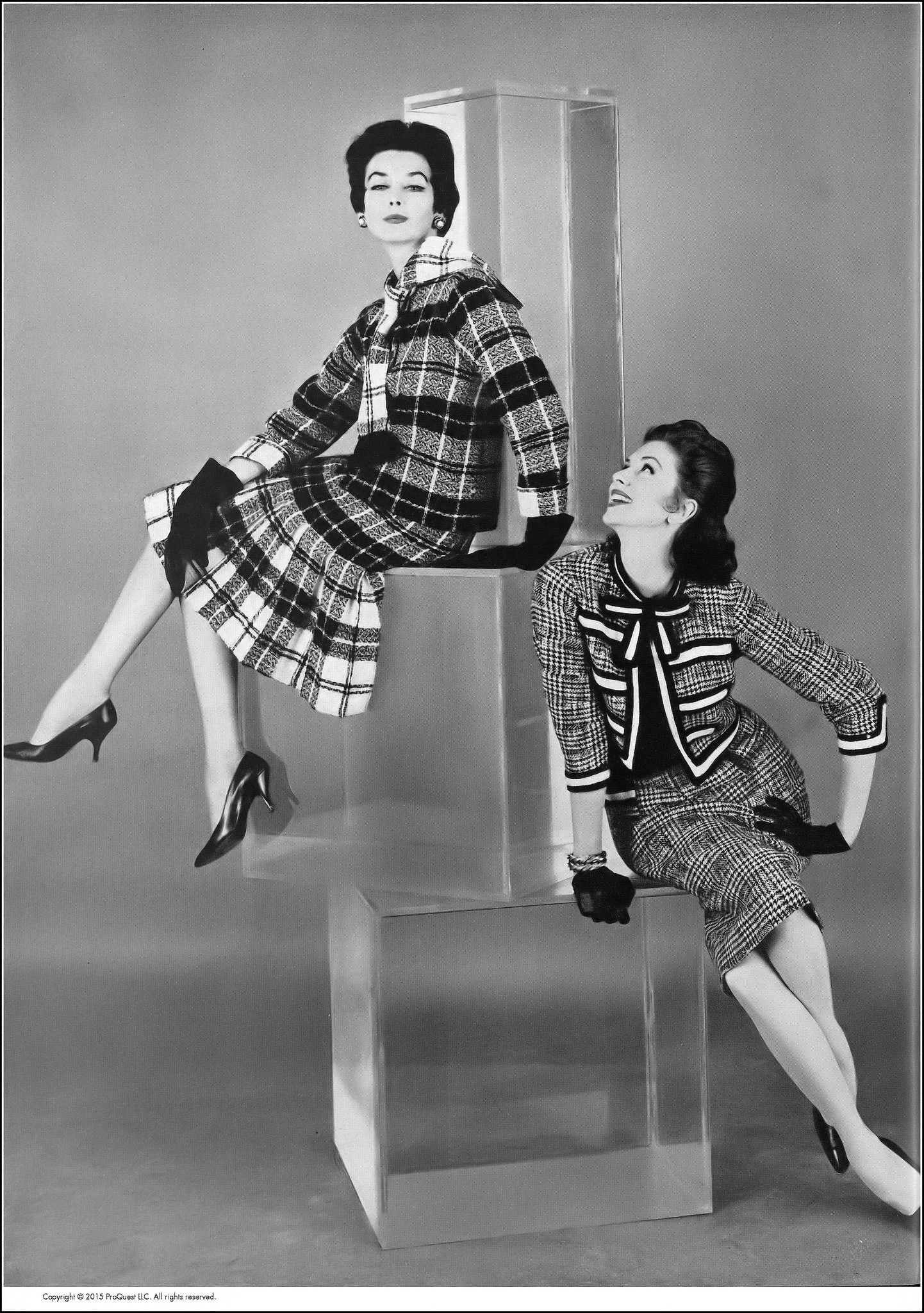 Dorian Leigh (top) in black and white plaid tweed suit with lower length of f1d4af3fe10