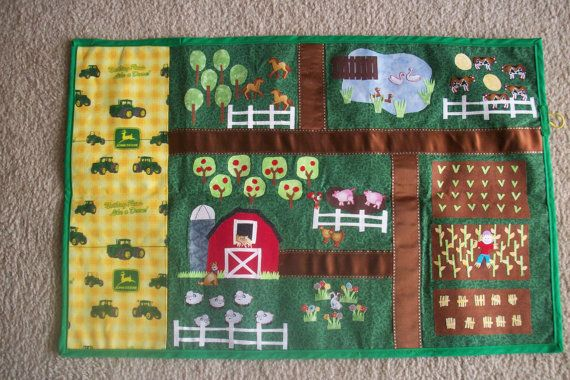 Farm Playmat Roll By Theclassyowl On Etsy Holiday Crafts For Kids Sewing Projects For Kids Farm Quilt