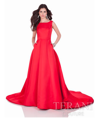 Full Ballgown With A Modest Neckline And Low Back Perfect For Prom