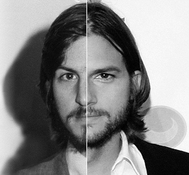 New split image show Ashton Kutcher as an older Steve Jobs with - jobs that are left
