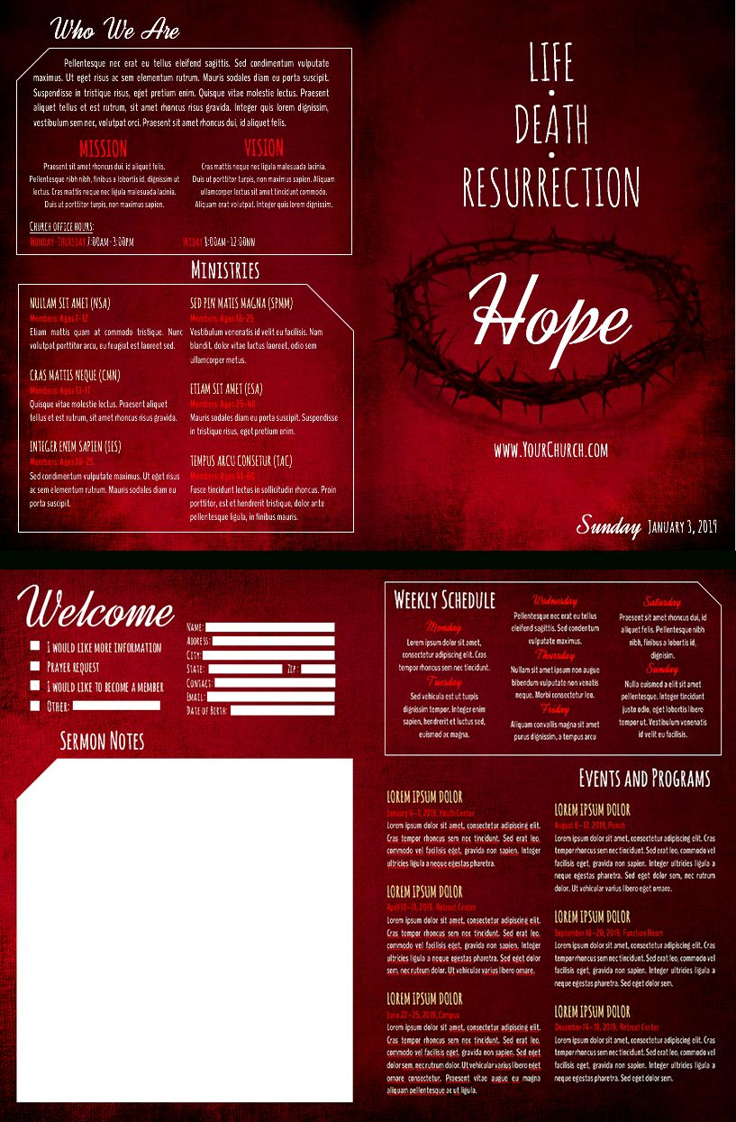 8 Free Church Bulletin Templates Intended For Free Church Brochure