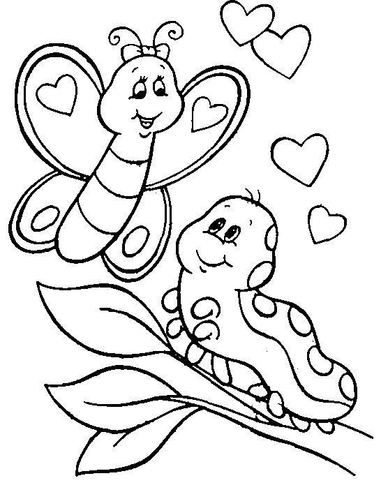 Caterpillar Coloring Pages With Butterfly Butterfly Coloring Page Animal Coloring Pages Valentine Coloring Pages