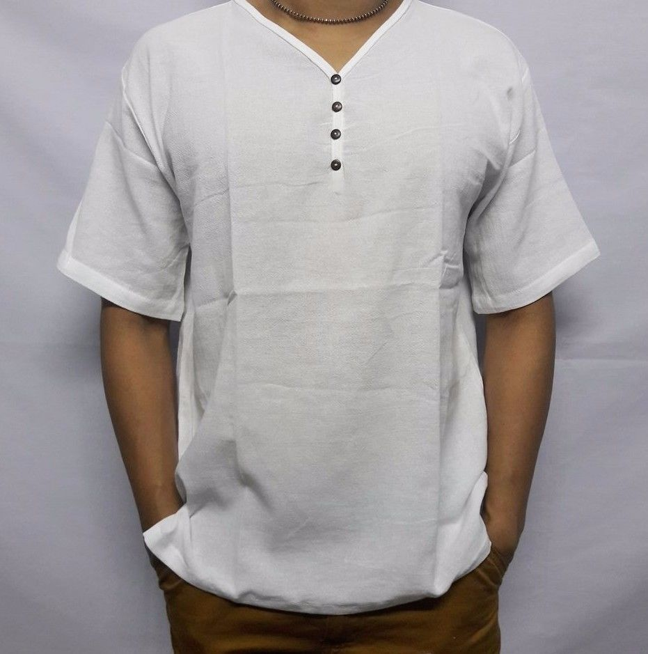 Summer 100/%Cotton V Neck Shirt Men/'s Short Sleeve Beach Loose Fit T Shirt Tops