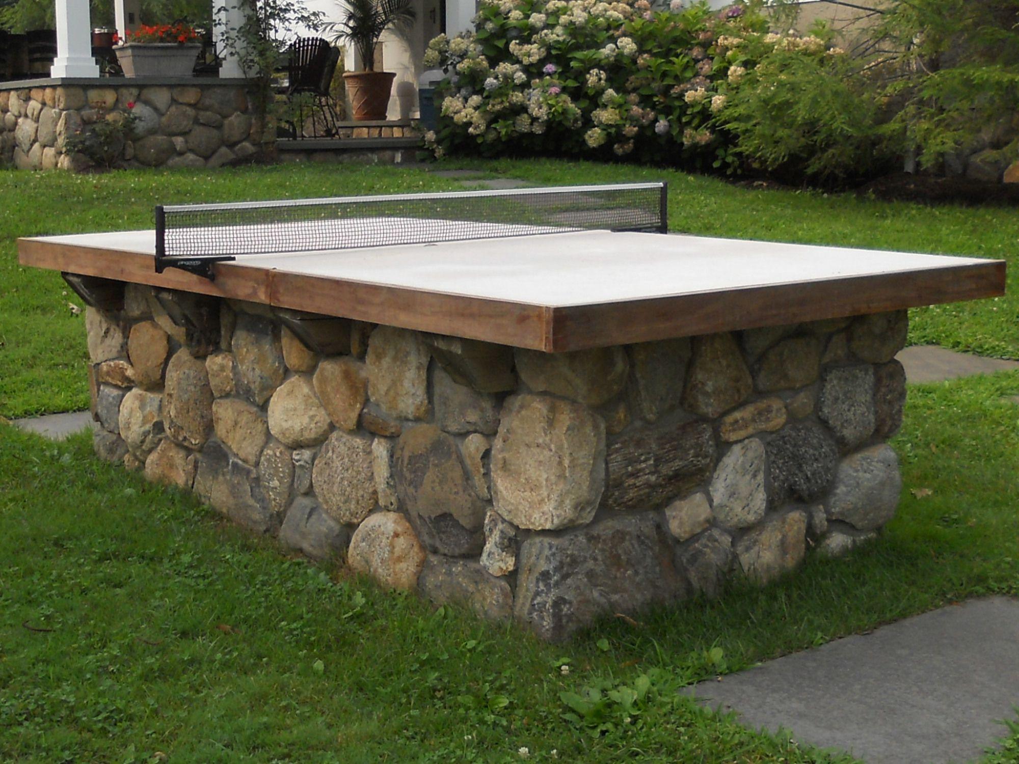 Fieldstone ping pong table backyard patio backyard fun