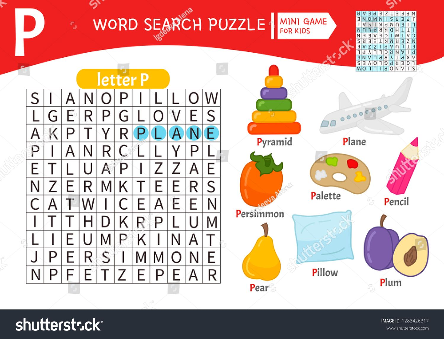 Words Puzzle Children Educational Game Learning Vocabulary Letter P Cartoon Objects On A Letter P Ad Sp Educational Games For Kids Word Puzzles P Words