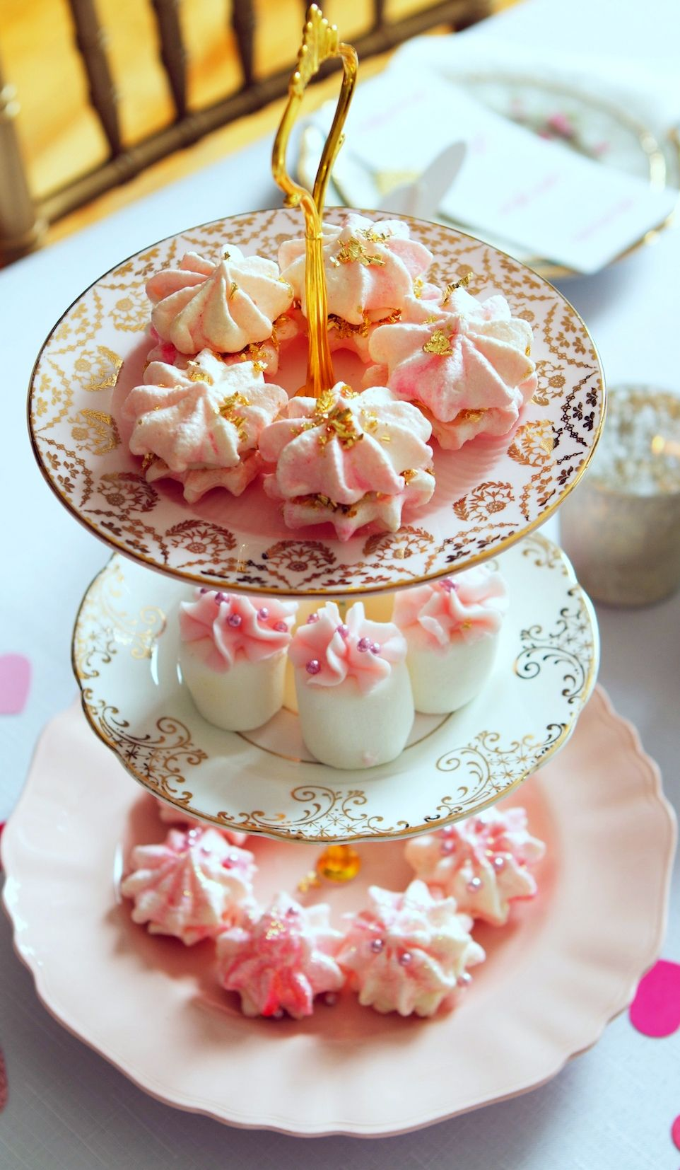 3 tier cake stand pink gold pink champagne wedding