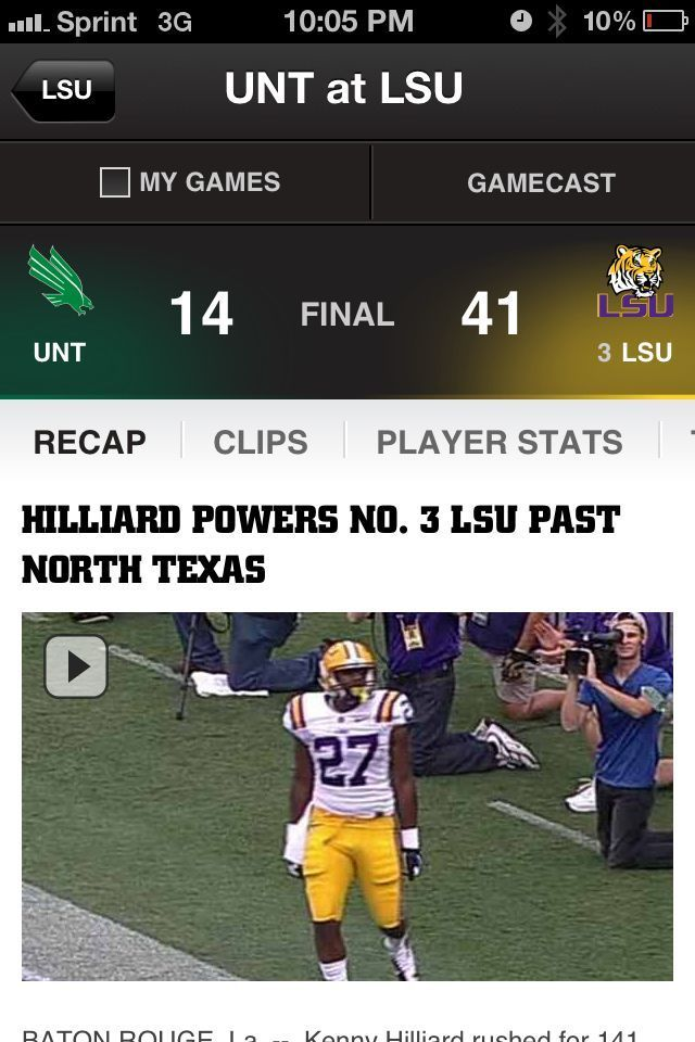 Hilliard powers No. 3 LSU past North Texas Associated Press BATON ROUGE, La. -- Zach Mettenberger could afford to miss a few throws in a less-than-dazzling first start. That was apparent from the moment Kenny Hilliard's 6-foot, 231-pound frame burst through the right side of the line and rumbled away from the North Texas defen... powers No. 3 LSU past North Texas Associated Press  BATON ROUGE, La. -- Zach Mettenberger could afford to miss a few throws in a less-than-dazzling first start.  That was apparent from the moment Kenny Hilliard's 6-foot, 231-pound frame burst through the right side of the line and rumbled away from the North Texas defen......