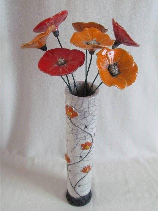 vase raku soliflore coquelicot fleurs original fait main artisanal c ramique gr s fait main. Black Bedroom Furniture Sets. Home Design Ideas