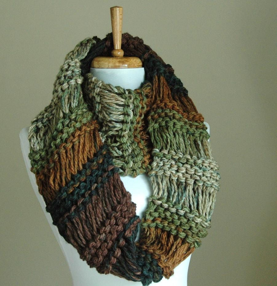 Chunky hand knit infinity scarf in neutral shades of brown and chunky hand knit infinity scarf in neutral shades of brown and green drop stitch original design bankloansurffo Choice Image