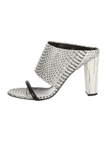 7e703c9823396f Grey and white McQ by Alexander McQueen snakeskin slide sandals with  leather strap at vamp and leather soles. Includes box and dust bag.