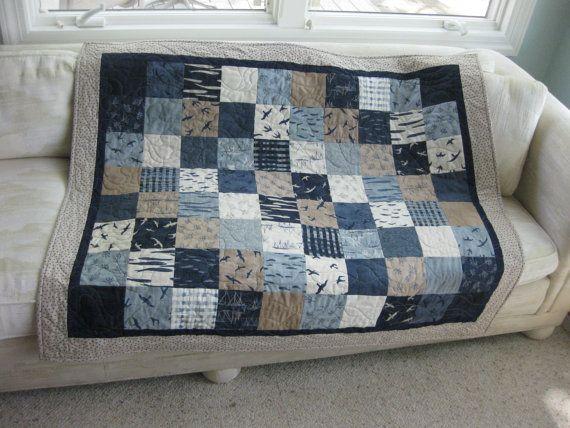 Nautical quilt throw blanket in Hearty Good by OliveStreetStudio ... : quilt throw blanket - Adamdwight.com