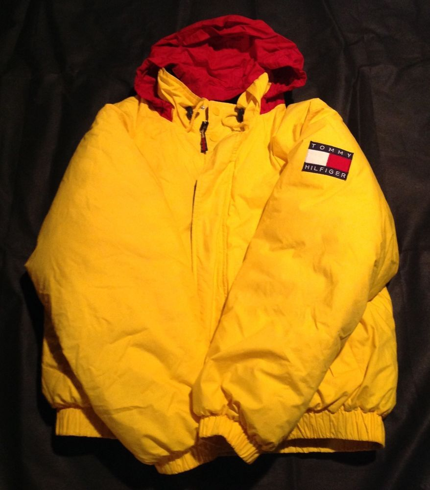 Vintage Yellow Tommy Hilfiger Puffy 90 S Down Coat Jacket Tommy Flag