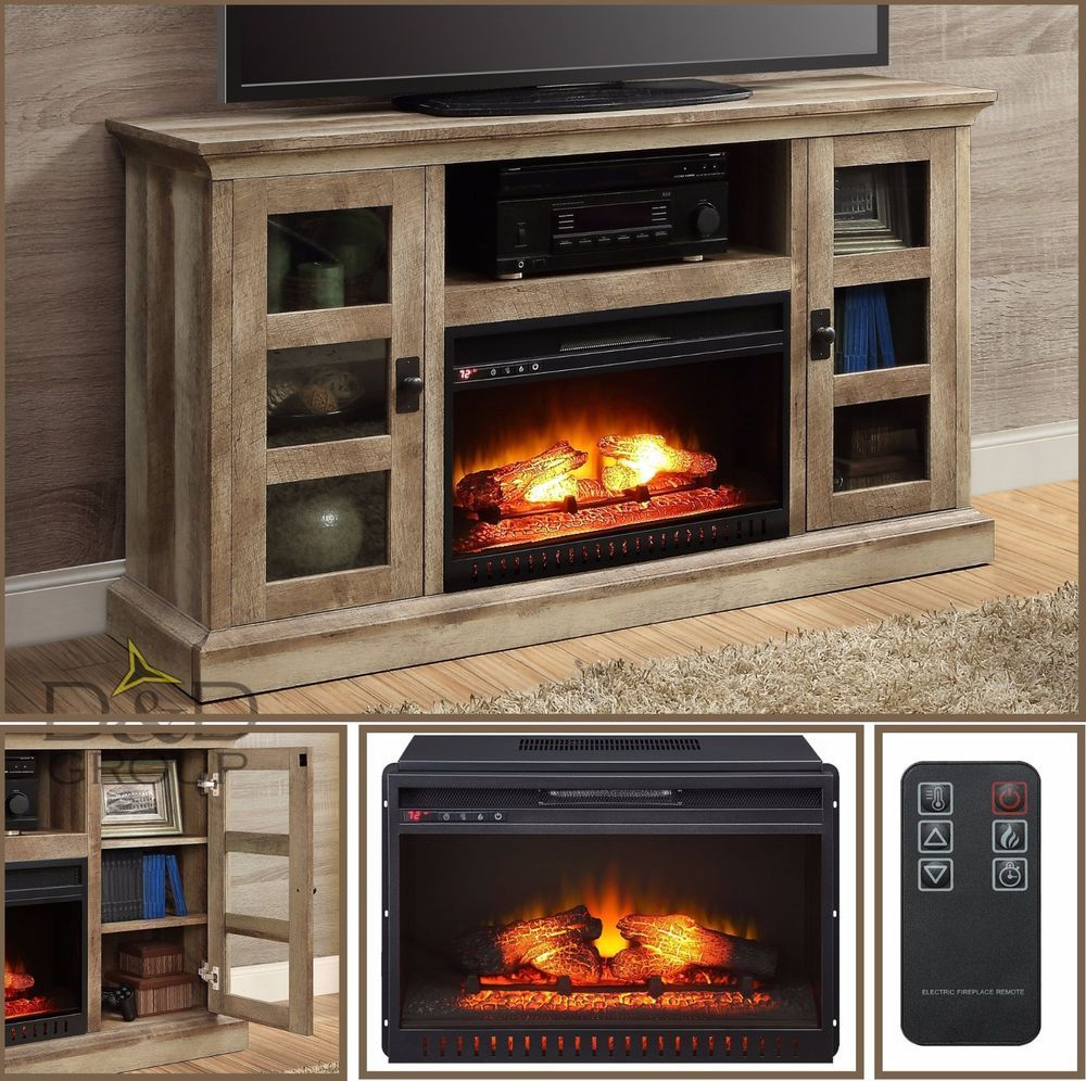 Tv Stand Media Entertainment Center Wood 70 Electric Fireplace