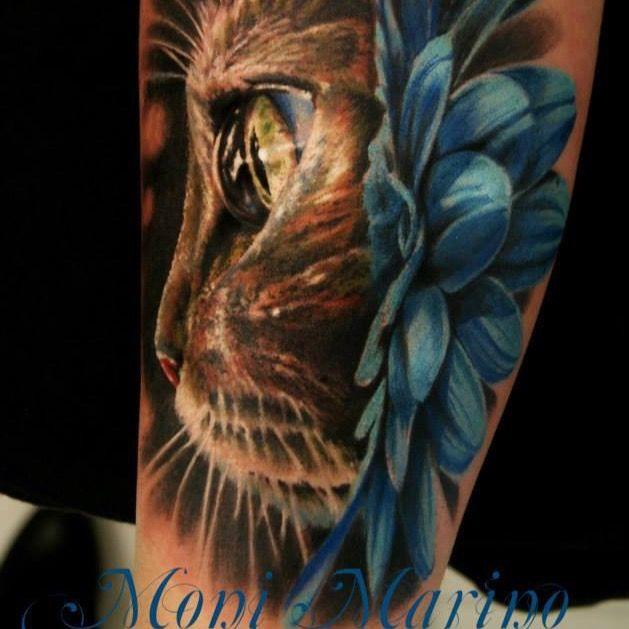Realistic Kitten Cat Eye Flower Fullcolor Monimarino Cat Tattoo Designs Cute Cat Tattoo Cat Tattoo