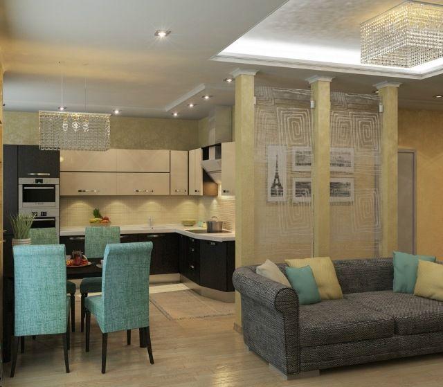 wohnzimmer mit offener küche und essbereich farben gelb türkis ...