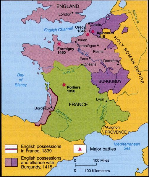 Map Of France In English.French And English Possessions During The Hundred Years War Joan
