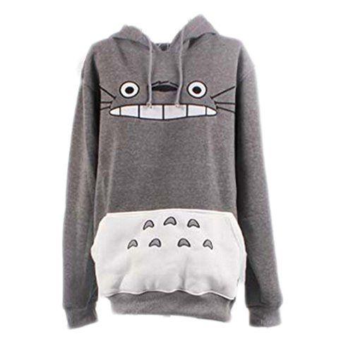 Bonamana Womens Totoro Print Pullover Hooded Sweatshirt