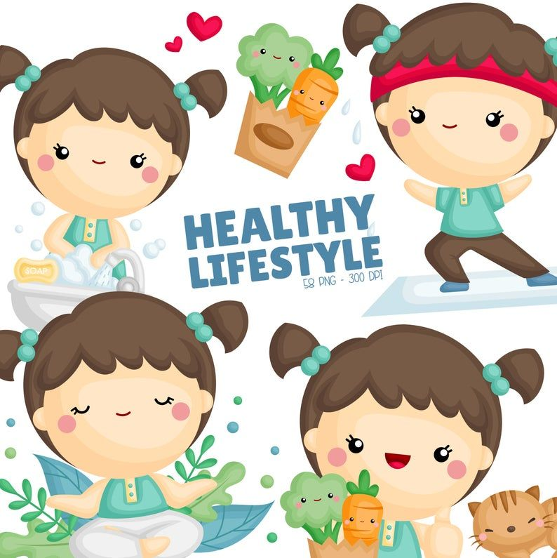 Healthy Lifestyle Clipart Yoga And Exercise Clipart Vegetables Sticker Free Svg On Request Clip Art Kids Vector Digital Clip Art