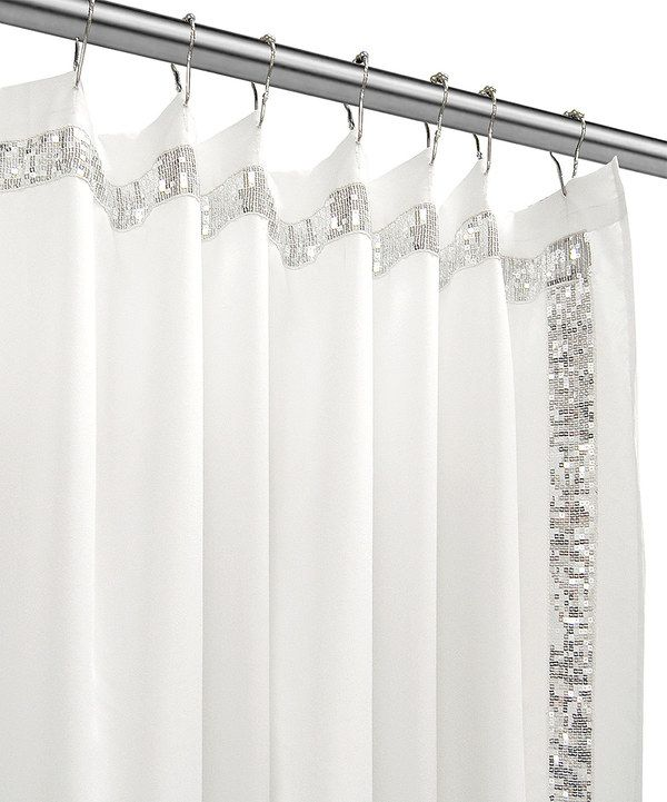 Look At This White Sequined Shower Curtain On Zulily Today Silver Shower Curtain Fancy Shower Curtains White Shower Curtain Bathroom