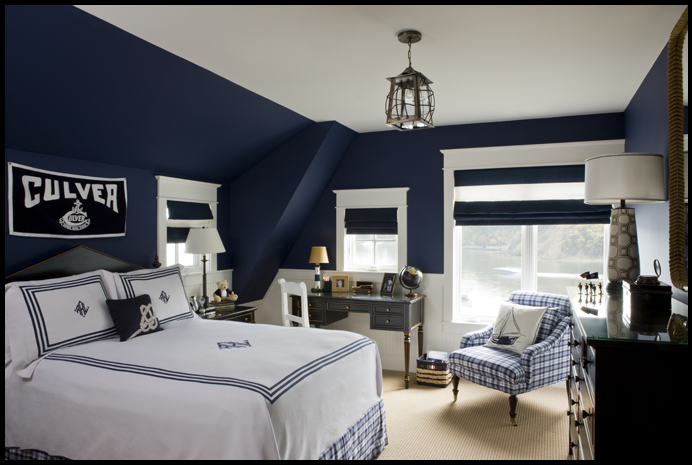 Grey and navy blue boy bedroom monochromatic is so for Blue and white boys room