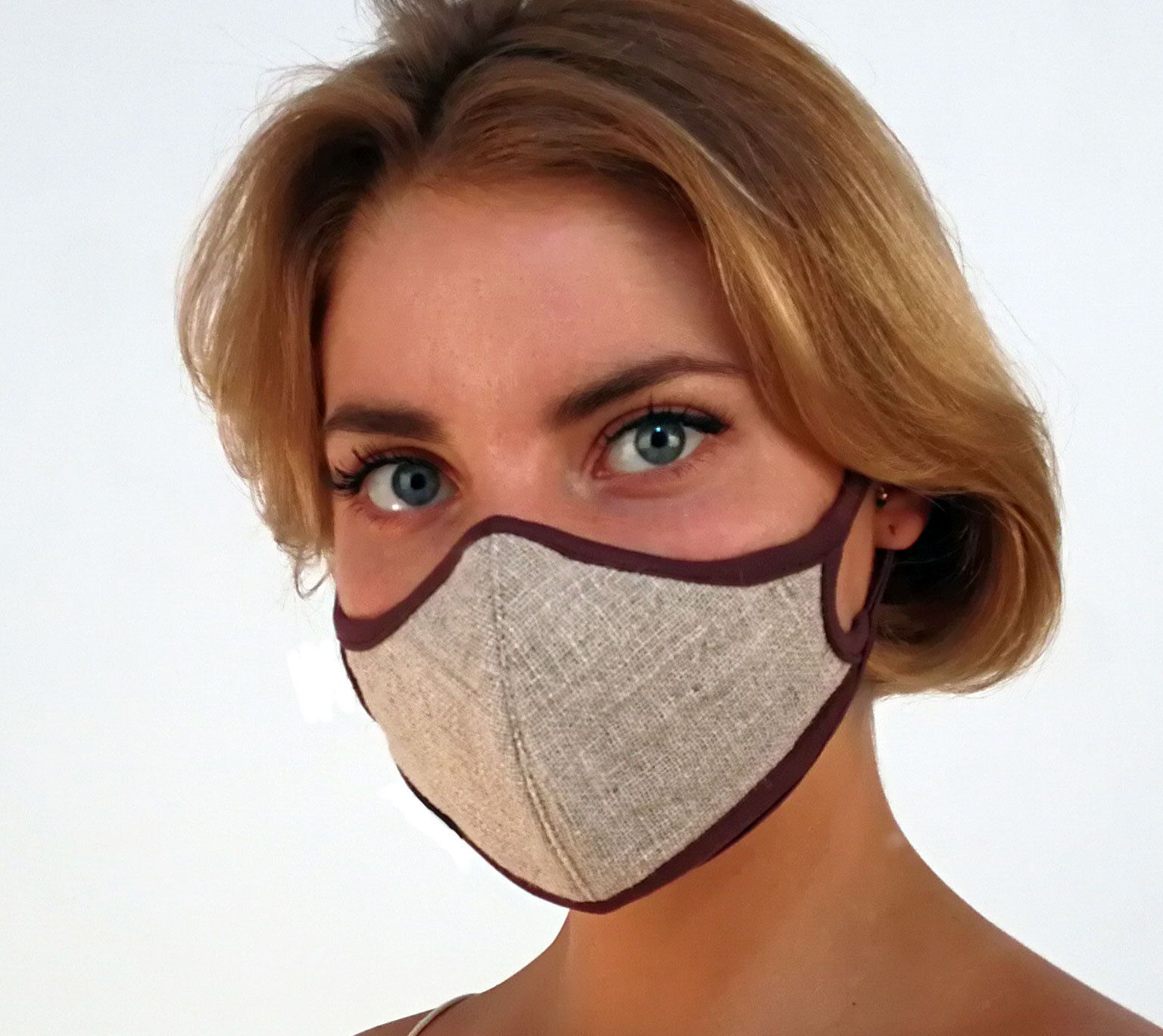 REPLACEABLE FILTER Air Pollution Face mask, natural linen
