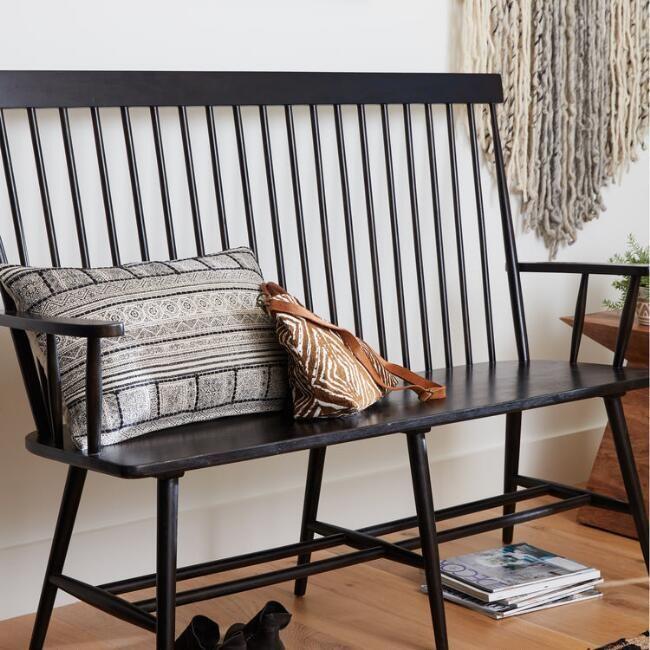 Black Wood Kamron High Back Windsor Bench By World Market