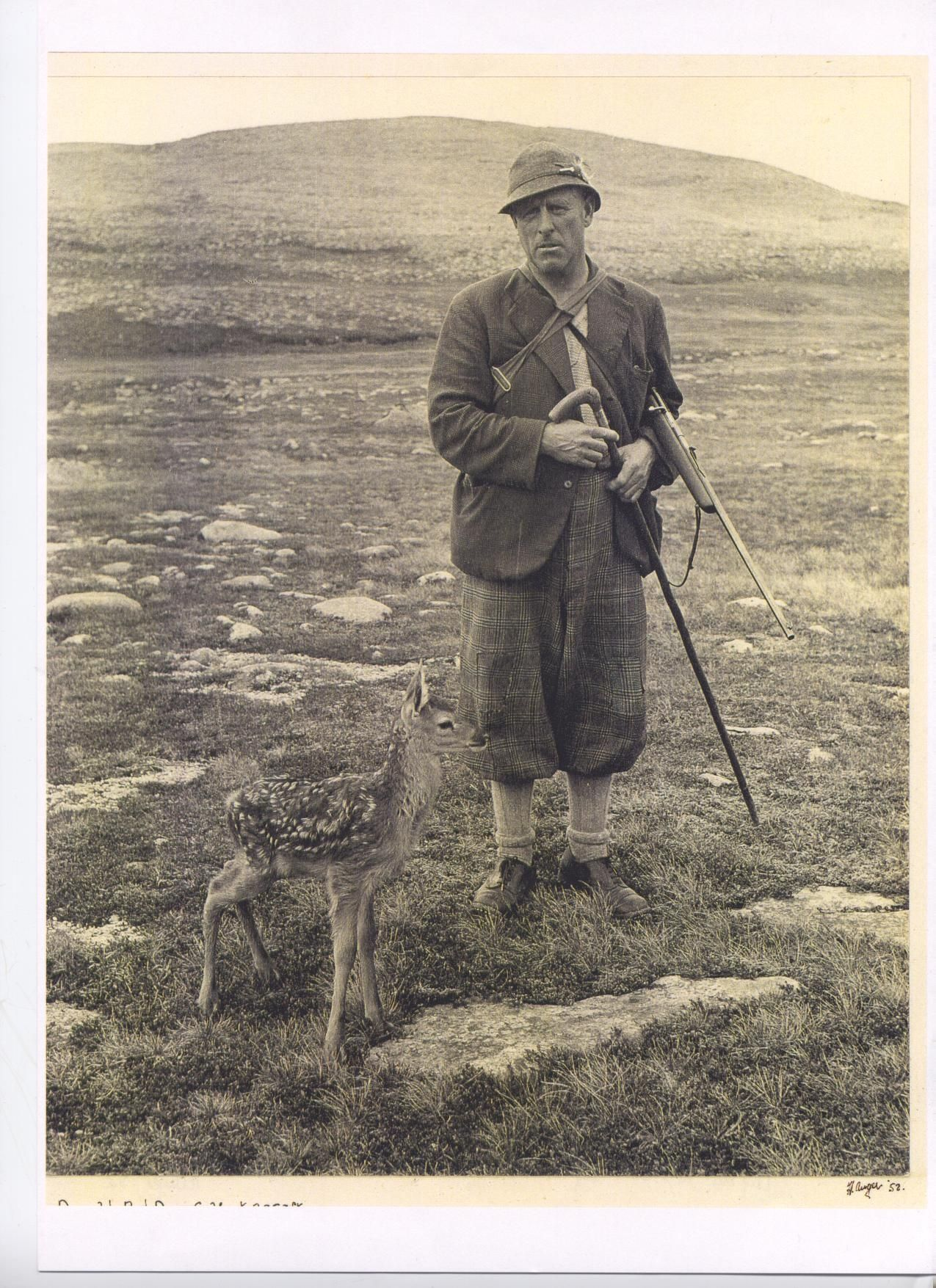 Bob Scott and a day old red deer