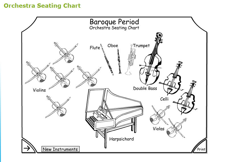 baroque orchestra seating plan print off music class resources pinterest baroque the o. Black Bedroom Furniture Sets. Home Design Ideas