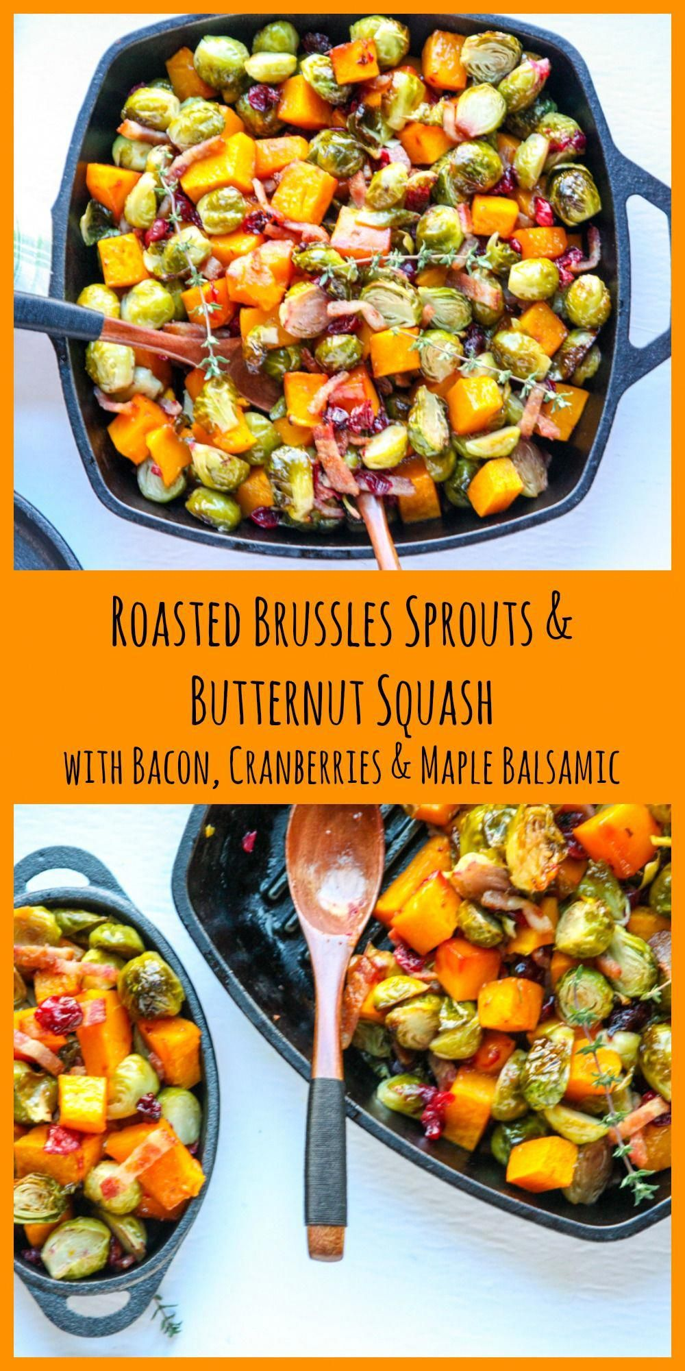 Roasted Brussels Sprouts & Butternut Squash with Cranberries, Bacon, & a Maple & Balsamic splash. This simple, festive fall dish tastes amazing, it's packed with nutrition, and it's super easy, too. A perfect holiday side, and just as simple and delicious for a weeknight too. sides sprouts recipes squash recipes veggie recipes vegetable recipes