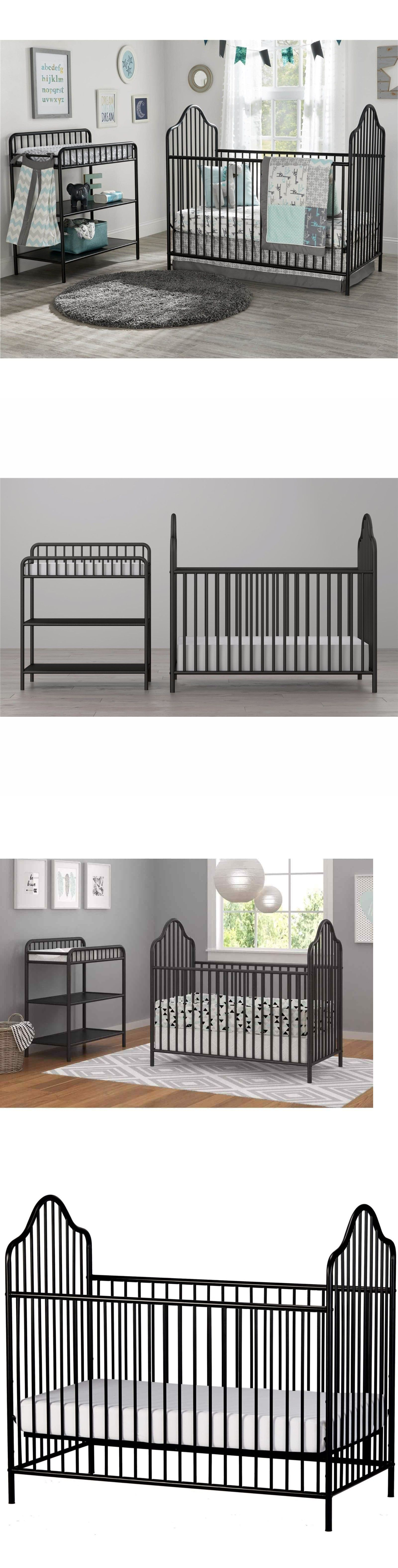 Cribs 2985: Victorian Black Spindle Metal Crib Changing Table ...