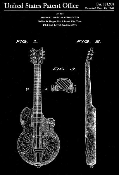 1961 Guitar Stringed Musical Instrument W D Hopper Patent
