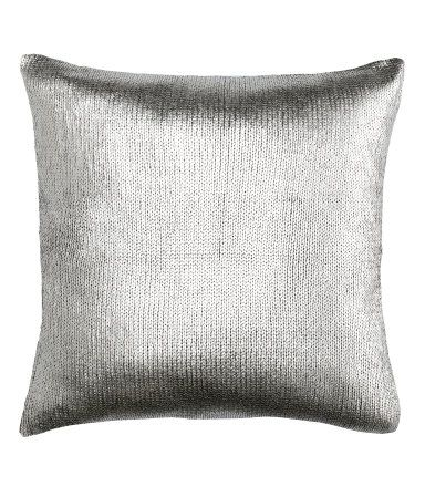 Silver Metallic Knit Cushion Cover Via H Amp M Kissen Stricken Kissenh 252 Lle 40x40