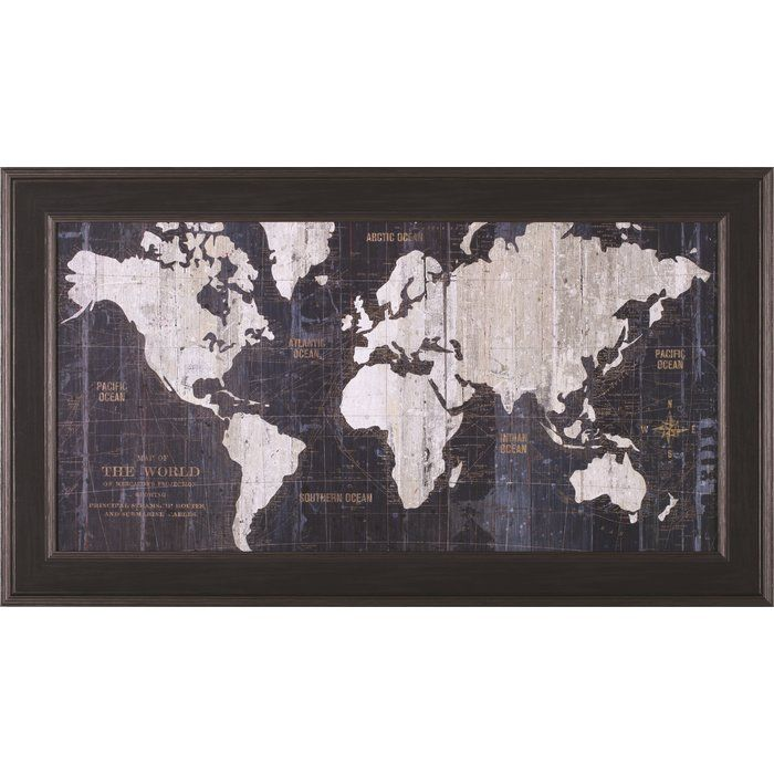 Old world map blue framed graphic art graphic art old world map blue framed graphic art gumiabroncs Images