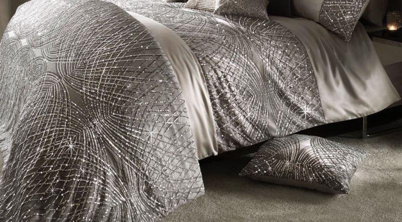 Grey Duvet Cover Kylie Minogue Bedding GLITTER FADE Silver Cushion or Throw