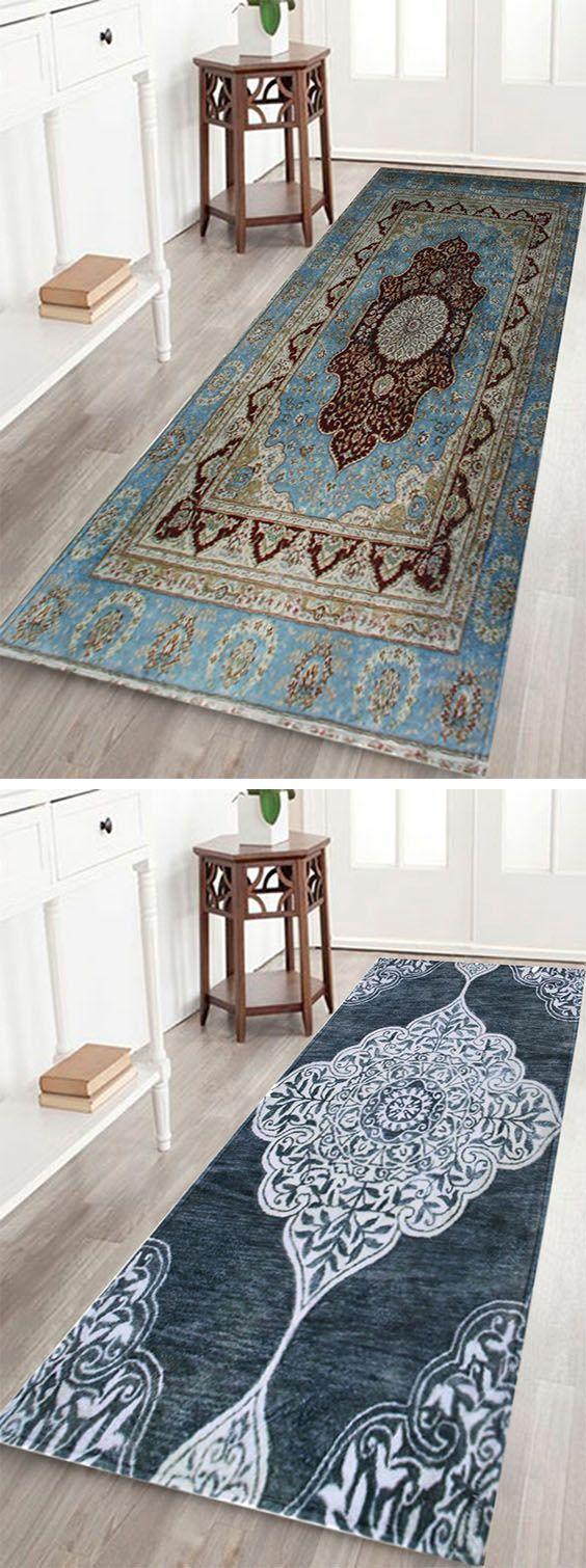 Teal hallway ideas  Vintage Persian Coral Fleece Floor Door Mat  Door mats Persian and