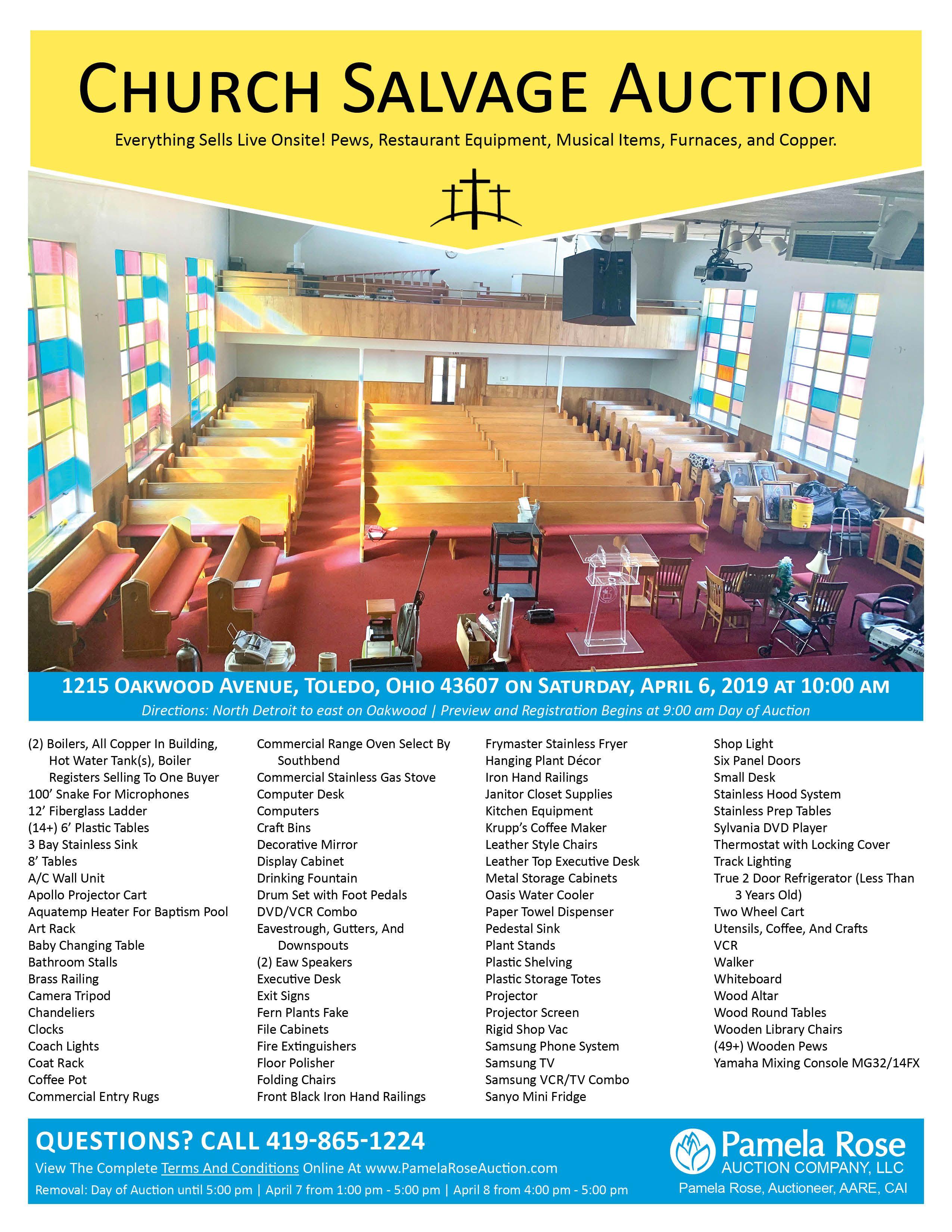 Church Salvage Auction Live Onsite Restaurant Equipment Auction Salvage