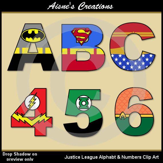 Liga De La Justicia Alfabeto Letras Numeros Clip Art Graficos