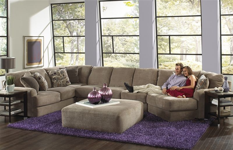 Malibu 3 Piece Sectional In Taupe Chenille Fabric By Jackson
