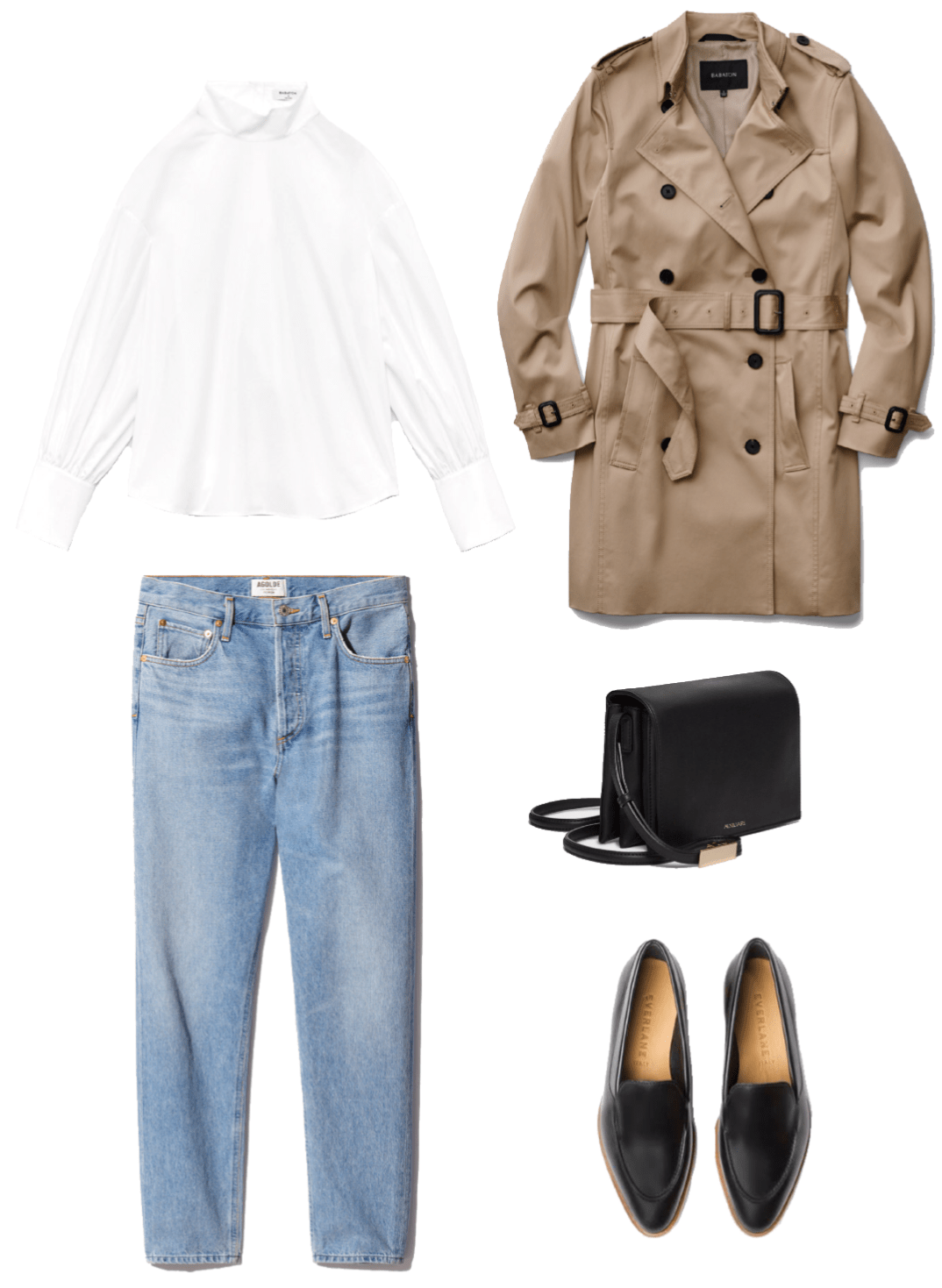 8a6ce33a8c White button-down shirt+high-waist jeans+camel trenchcoat+black pointed