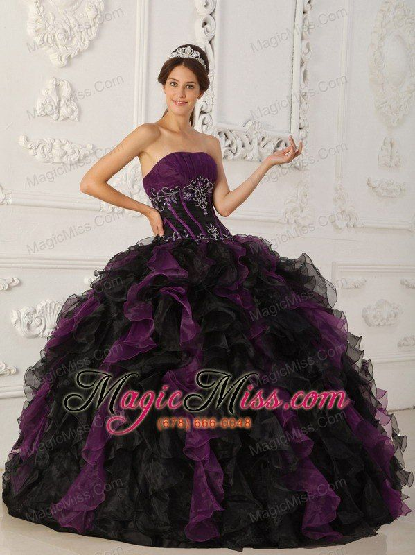 wholesale purple and black ball gown strapless floor-length taffeta and organza beading quinceanera dress
